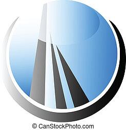 felhőkarcoló, épület, jel, vektor