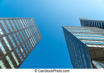 felhőkarcoló, alatt, a, ég