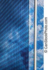 felhőkarcoló, ellen, kék ég