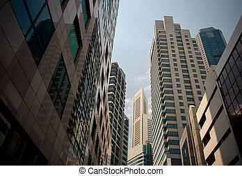 felhőkarcoló, jellegzetes, városi, cityscape
