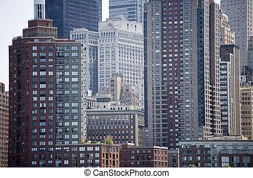 felhőkarcoló, közül, manhattan, new york, usa