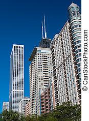 felhőkarcoló, közül, város, közül, chicago