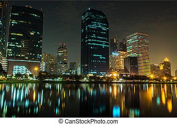 felhőkarcoló, láthatár, éjjel
