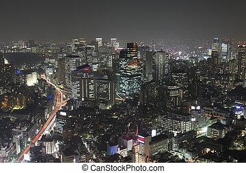 felhőkarcoló, panoráma, éjszaka, megvilágít, tokió