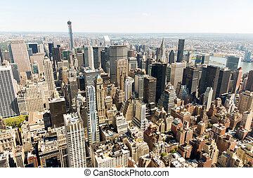 felhőkarcoló, városi, york, új, város