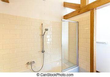 felhőszakadás, alatt, klasszikus, fürdőszoba