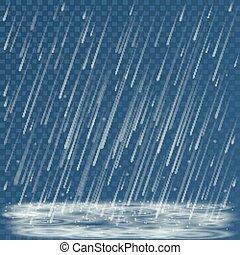 felhőszakadás, hideg, háttér., tócsa, vektor, megrohamoz, időjárás természet, esés, ősz, ábra, loccsan, elvont