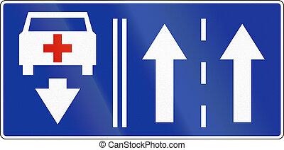 Felhasználható, Sáv, szükséghelyzet, Lengyelország, Jármű, két, ellenkező