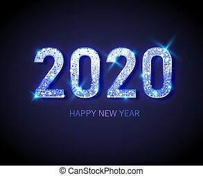 felice, 2020, oro, fondo, orologio, -, nuovo, glitter., ...
