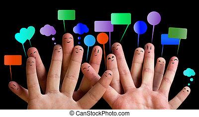 felice, 3, dito, gruppo, smileys