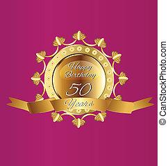felice, 50, compleanno, oro, disegno