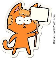 felice, adesivo, segno, cartone animato, gatto