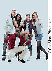 felice, adolescenti, detenere, buono, tempo divertente, isolato, bianco, backgroun
