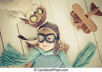 felice, aeroplano, giocattolo, gioco, bambino