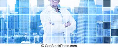 felice, africano americano donna, dottore, sopra, città