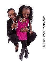felice, africano, figlia, lei, madre