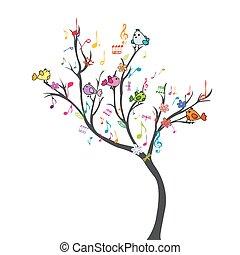 felice, albero, con, uccelli