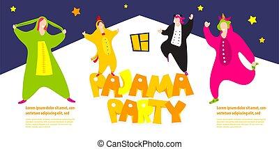 felice, amici, pigiama, festa, pigiama, costume