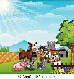 felice, animali, a, fattoria, fondo