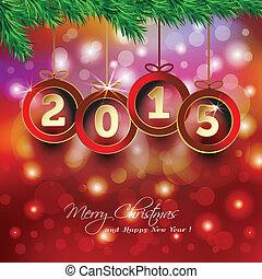 felice anno nuovo, 2015, fondo, con, bauble natale