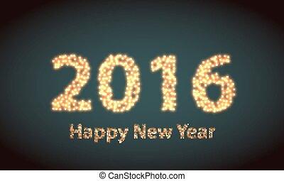 felice anno nuovo, 2016, creativo, cartolina auguri, disegno