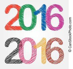 felice, anno, nuovo, 2016