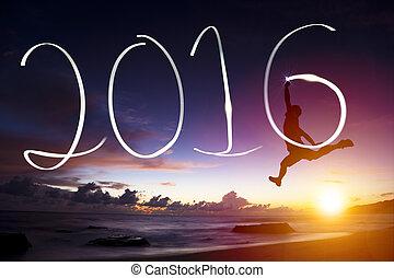 felice anno nuovo, 2016.young, uomo saltando, e, disegno, 2016, su, spiaggia