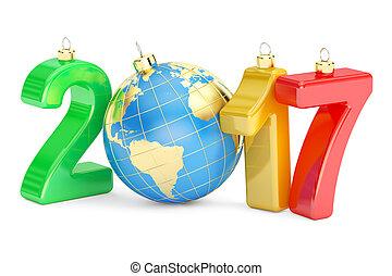 felice anno nuovo, 2017, concetto, 3d, interpretazione