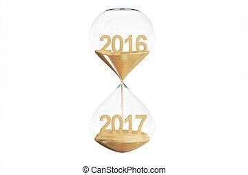 felice anno nuovo, 2017, concetto, con, clessidra, 3d, interpretazione