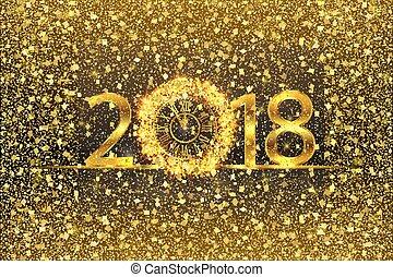 felice anno nuovo, 2017., vettore, illustrazione, con, oro, orologio