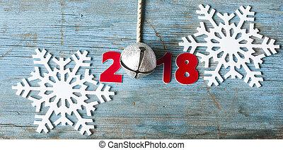 felice anno nuovo, 2018, su, tavola legno