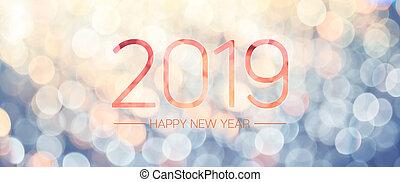 felice anno nuovo, 2019, bandiera, con, pallido, giallo blu,...