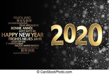 felice, anno, nuovo, 2020, fondo, saluti