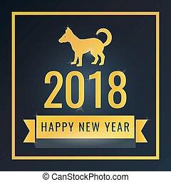 felice anno nuovo, augurio, card., bandiera, per, disegno,...