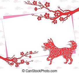 felice, anno nuovo cinese, 2018, anno cane