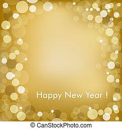 felice anno nuovo, dorato, vettore, fondo