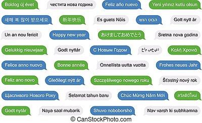 felice anno nuovo, in, differente, lingue, su, sms, bolle