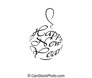 felice anno nuovo, logotipo, palla natale