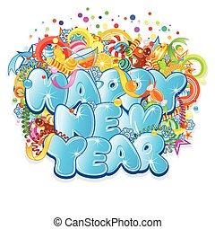 felice anno nuovo, title., vettore, disegno