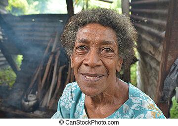felice, anziano, indigeno, fijian, donna
