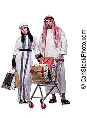 felice, arabo, famiglia, secondo, shopping, isolato, bianco