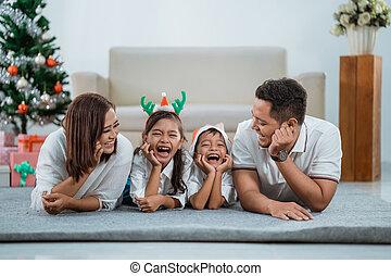 felice, asiatico, natale, giorno famiglia