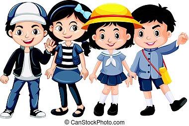 felice, bambini, asian fronteggiano