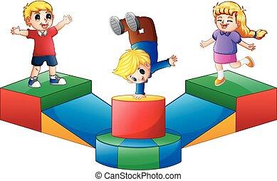 felice, bambini, campo di gioco, gioco