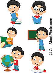 felice, bambini, cartone animato, scuola, colle