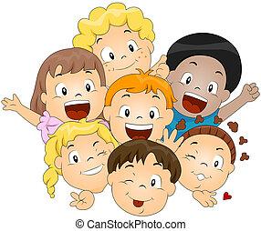 felice, bambini