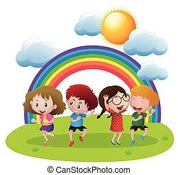 felice, bambini, giardino, ballo