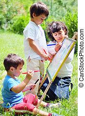 felice, bambini giocando, e, disegno
