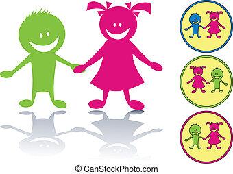 felice, bambini, icona