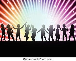 felice, bambini, insieme, ballo